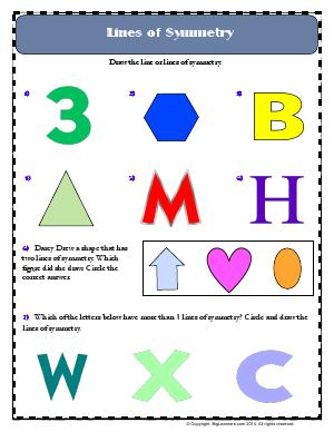 Preview image for worksheet with title Lines of Symmetry