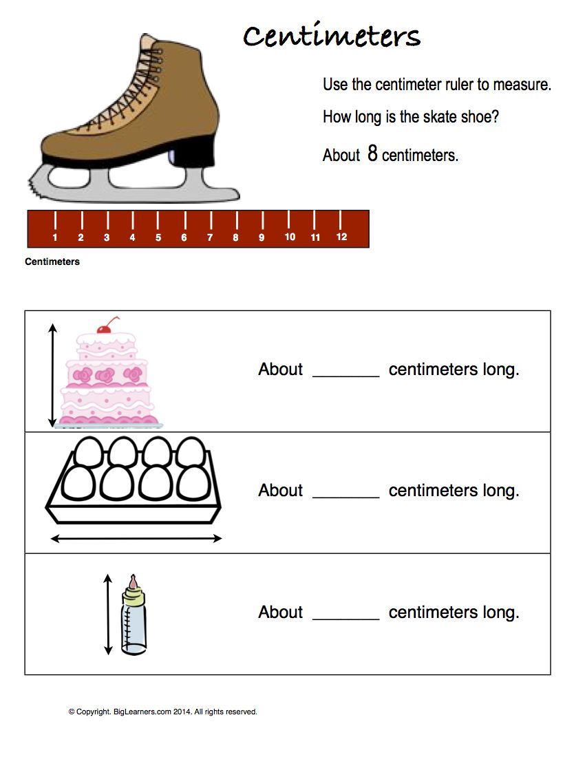 Preview image for worksheet with title Centimeters