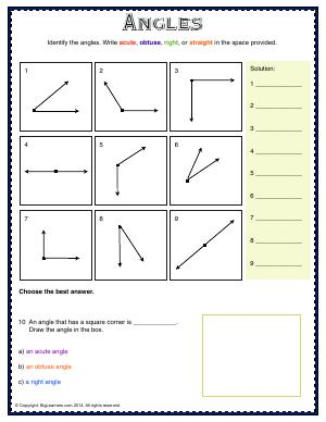 Preview image for worksheet with title Angles
