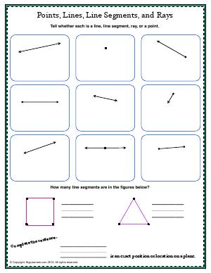 Preview image for worksheet with title Points, Lines, Line Segments, and Rays