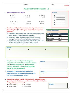 Preview image for worksheet with title Add/Subtract Decimals - II