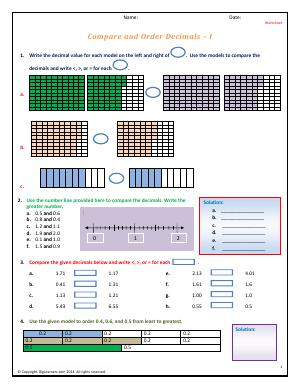 Preview image for worksheet with title Compare and Order Decimals - I