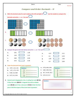Preview image for worksheet with title Compare and Order Decimals - II