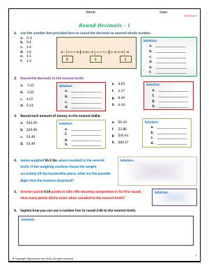 Preview image for worksheet with title Round Decimals - I