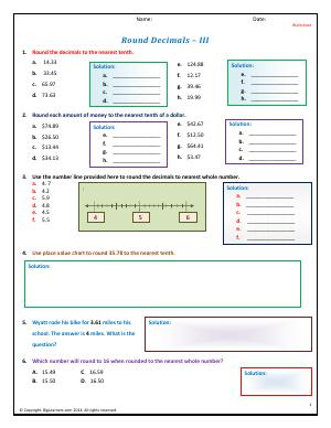 Preview image for worksheet with title Round Decimals - III