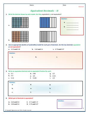 Preview image for worksheet with title Equivalent Decimals - II