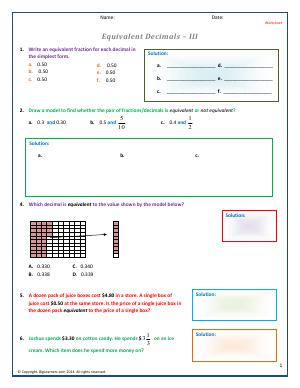 Preview image for worksheet with title Equivalent Decimals - III