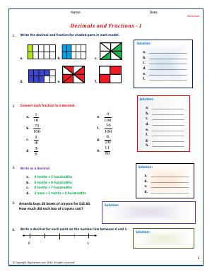 Preview image for worksheet with title Decimals and Fractions - I