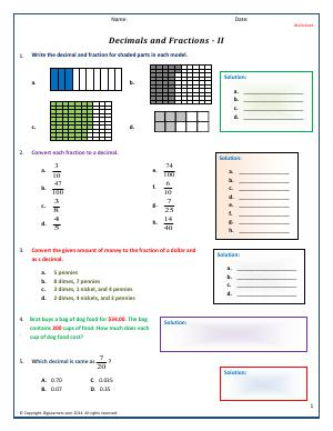 Preview image for worksheet with title Decimals and Fractions - II