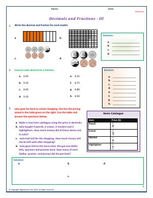 Preview image for worksheet with title Decimals and Fractions - III