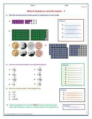 Preview image for worksheet with title Mixed Numbers and Decimals -  I