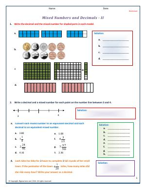 Preview image for worksheet with title Mixed Numbers and Decimals - II