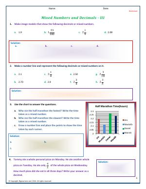 Preview image for worksheet with title Mixed Numbers and Decimals - III