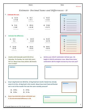 Preview image for worksheet with title Estimate - Decimals Sums and Differences - II