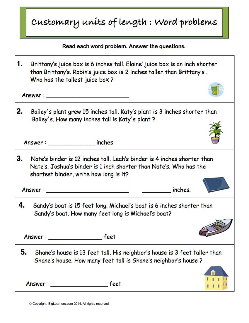 Preview image for worksheet with title Customary Units of Length - word problems