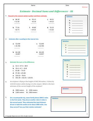 Preview image for worksheet with title Estimate - Decimals Sums and Differences - III