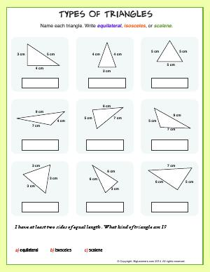 Preview image for worksheet with title Types of Triangles