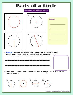 Preview image for worksheet with title Parts of a Circle