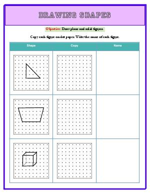 Preview image for worksheet with title Drawing Shapes