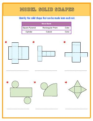 Preview image for worksheet with title Model Solid Shapes