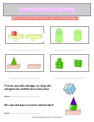 Preview image for worksheet with title Combine Solid Shapes