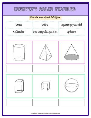 Preview image for worksheet with title Identify Solid Figures