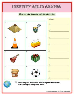 Preview image for worksheet with title Identify Solid Shapes
