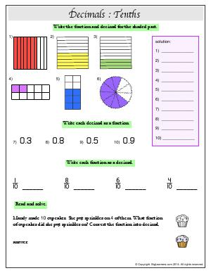 Preview image for worksheet with title Decimals : Tenths