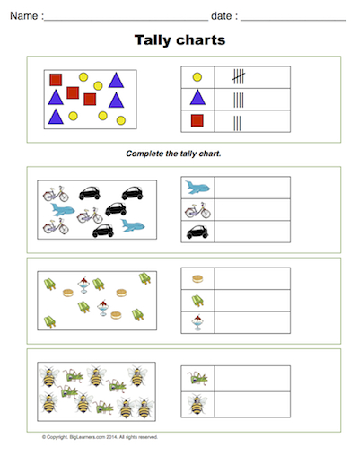 Preview image for worksheet with title Tally Charts