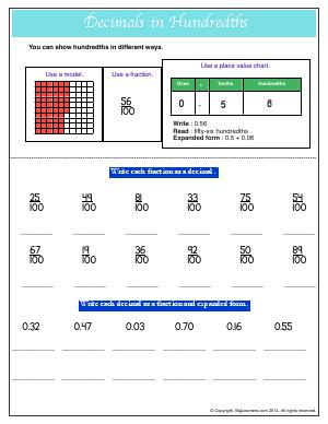 Preview image for worksheet with title Decimals in Hundredths
