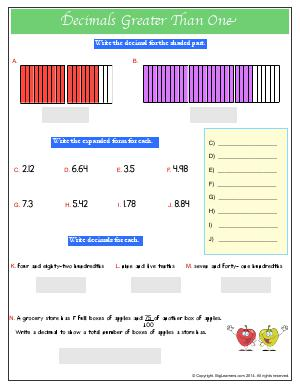 Preview image for worksheet with title Decimals Greater Than One