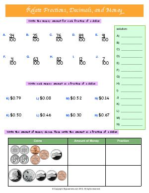 Preview image for worksheet with title Relate Fractions, decimals, and Money