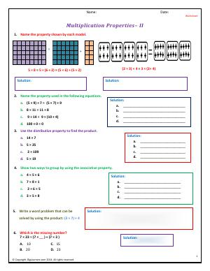 Preview image for worksheet with title Multiplication Properties - II