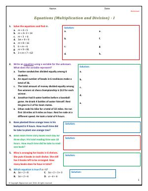 Preview image for worksheet with title Equations (Multiplication and Division) - I