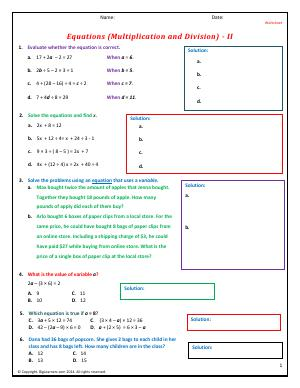 Preview image for worksheet with title Equations (Multiplication and Division) - II