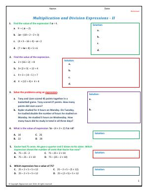 Preview image for worksheet with title Multiplication and Division Expressions - II