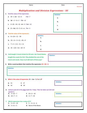 Preview image for worksheet with title Multiplication and Division Expressions - III