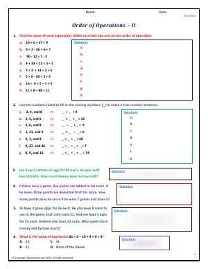 Preview image for worksheet with title Order of Operations - II