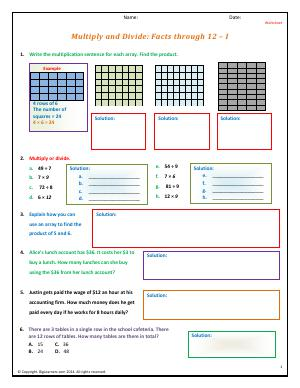 Preview image for worksheet with title Multiply and Divide: Facts through 12 - I