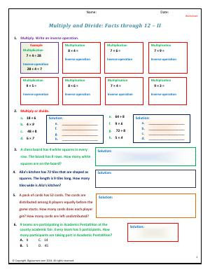 Preview image for worksheet with title Multiply and Divide: Facts through 12 - II