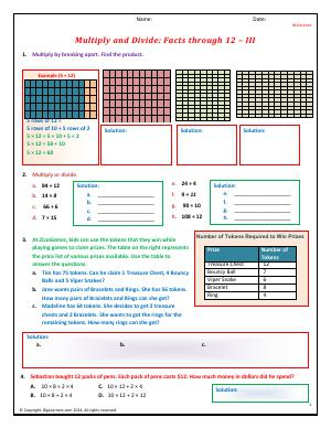 Preview image for worksheet with title Multiply and Divide: Facts through 12 - III