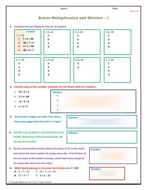 Preview image for worksheet with title Relate Multiplication and Division - I