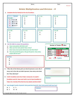Preview image for worksheet with title Relate Multiplication and Division - II