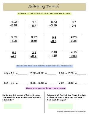 Preview image for worksheet with title Subtracting Decimals
