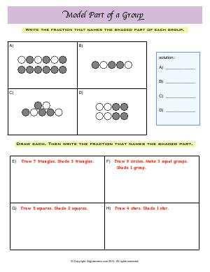Preview image for worksheet with title Model Part of a Group