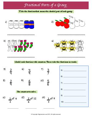 Preview image for worksheet with title Fractional parts of a group
