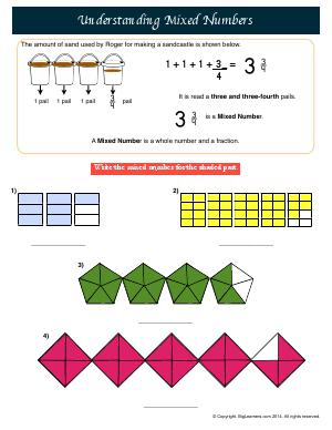 Preview image for worksheet with title Understanding Mixed Numbers
