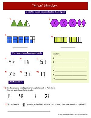 Preview image for worksheet with title Mixed Numbers