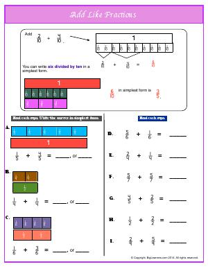 Preview image for worksheet with title Add Like Fractions