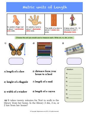 Preview image for worksheet with title Metric Units of Length